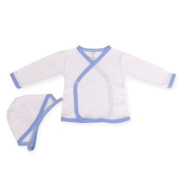 Bluzita si caciulita cu margini bleu