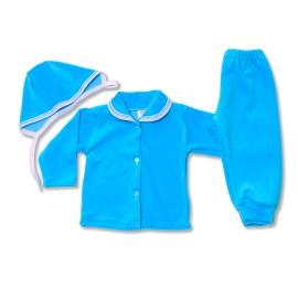 Costumas bebe din catifea turquoise