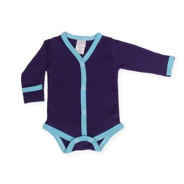 Body violet cu manusi si margini bleu