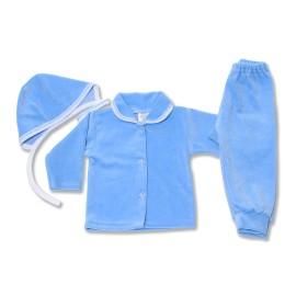 Costumas bebe din catifea bleu