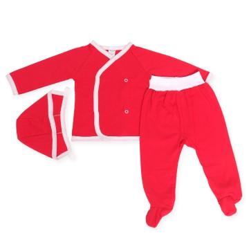 Costumas rosu cu trei piese
