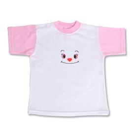Tricou bebe alb cu roz