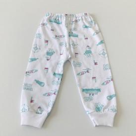 Pantalon bebe cu vapoare turquoise