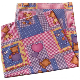 Scutec bumbac - finet imprimat cu ursuleti roz