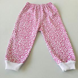 Pantalon bebe cu inimi roz