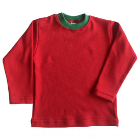 Bluza rosie cu guler verde