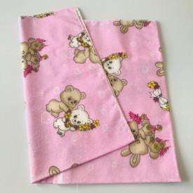Scutec bumbac - finet roz imprimat cu ursuleti crem