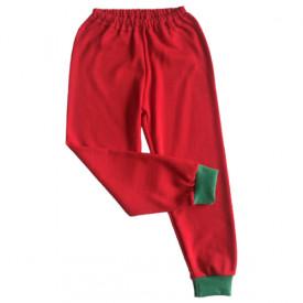 Pantalonas rosu cu manseta verde