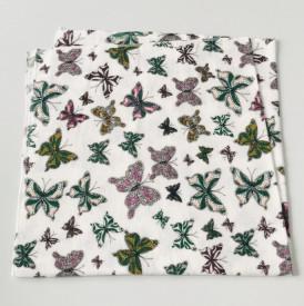 Scutec bumbac - finet imprimat cu fluturi verzi
