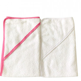 Set prosop cu gluga alb si roz