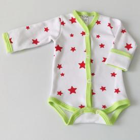 Body bebe cu margini verzi si cu manusi