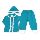 Costumas turquoise cu dantela