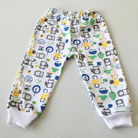 Pantalon bebe cu robotel gri