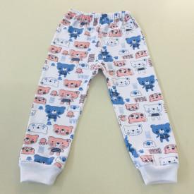 Pantalon bebe cu ursuleti albastri
