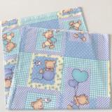 Scutec bumbac - finet imprimat cu ursuleti bleu