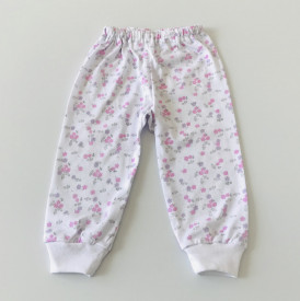 Pantalon bebe cu floricele mov si roz
