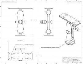 """C-típusú (1,5""""-os) tartószerkezet 16x5 cm-es tartóval és kör alakú talppal"""