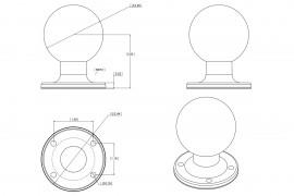 """RAM kör alakú bázis 2,25""""-os golyóval és AMPS rögzítési lyukakkal"""