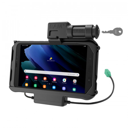 RAM® EZ-Roll'r™ kulccsal zárható Töltő és Adat kapcsolatos bölcső Samsung Galaxy Tab® Active3 és Active2-höz