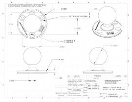 """RAM 3,68""""-os átmérőjű kör alakú bázis 2,25""""-os golyóval"""