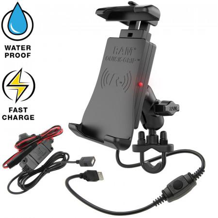 RAM® Quick-Grip™ vezeték nélküli töltővel rendelkező komplett telefon tartó szett kormányra vagy csőre
