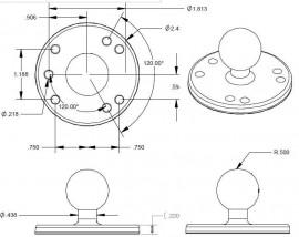 Rögzítő talp univerzálisan használható AMPs lyukakkal