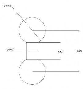 """Dupla golyós adapter 2,25""""-os golyókkal (D-méret)"""
