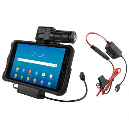 RAM® EZ-Roll'r™ kulccsal zárható Töltő és Adatkapcsolatos tartó bölcső Samsung Galaxy Tab® Active2-höz