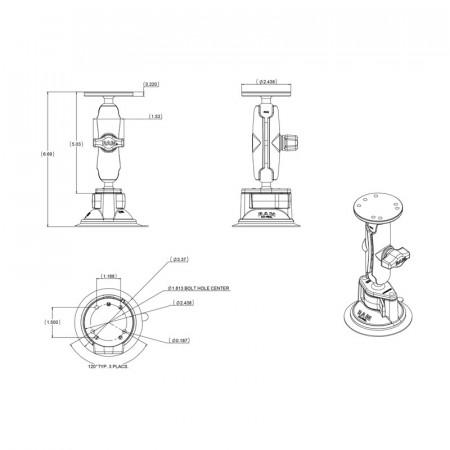 Tapadókorongos bázis közepes karral és kör alakú AMPs furatú talppal