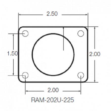 """Négyszög alakú rögzítő talp 1,5""""-os golyóval, 1,5"""" x 2""""-os lyukkiosztással"""