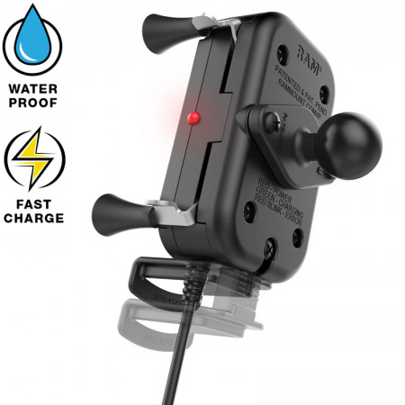 RAM® Tough-Charge™ X-Grip® Technológiás vezeték nélküli töltővel rendelkező komplett telefon tartó szett szélvédőre vagy sík felületre (vákuumos rögzítéssel)