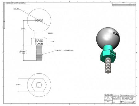 "RAM 1,5"" Tough-Ball™ M10-1.5 x 25mm csavarral"