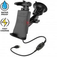 RAM® Quick-Grip™ vezeték nélküli töltővel rendelkező komplett telefon tartó szett szélvédőre vagy sík felületre (vákuumos rögzítéssel)