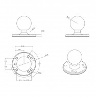 """RAM 2,5""""-os átmérőjű kör alakú bázis AMPs lyukakkal 1,5""""-os golyóval"""