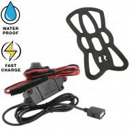 RAM® Tough-Charge™ X-Grip® vezeték nélküli töltővel rendelkező telefontartó motorkerékpáros USB adapterrel