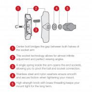 Tapadókorongos bázis közepes karral és AMPs furatú talppal