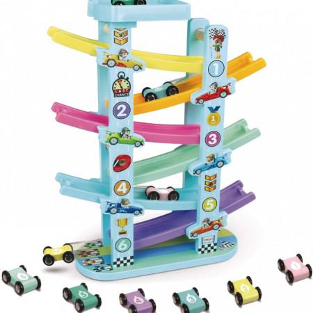 Circuit din lemn cu 6 masinute si 6 piste colorate