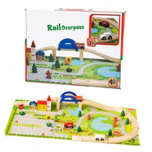 Circuit din lemn cu masinute si decor puzzle Rail Overpass
