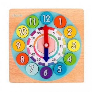 Joc educativ 2 in 1 din lemn: ceas si joc matematic