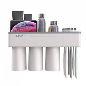 Organizator baie cu suport pentru pahare si periute de dinti