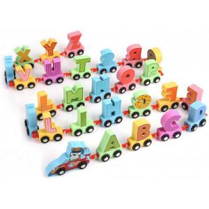 Trenulet din lemn cu literele alfabetului | Cartoon Alphabet Car