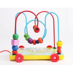 Joc educativ din lemn, Circuit Labirint de tras cu margele si roti