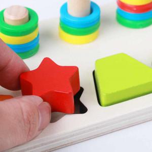 Joc educativ din lemn Montessori Shape pairing