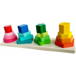 Joc educativ din lemn sortare compus din 4 forme geometrice