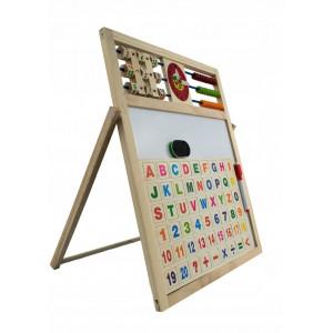 Tabla magnetica educativa pentru copii din lemn cu 5 functii 43x36cm