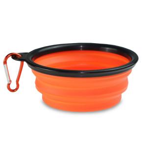 Castron pliabil din silicon pentru câini portocaliu