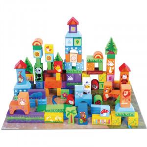 Cuburi de construit din lemn Beilaluna Cute Animal Blocks, 100 piese