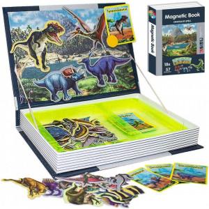 Joc educativ, carte puzzle cu piese magnetice Dinosaur Spell