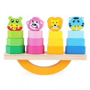 Joc educativ din lemn sortare si echilibru | Balancing blocks