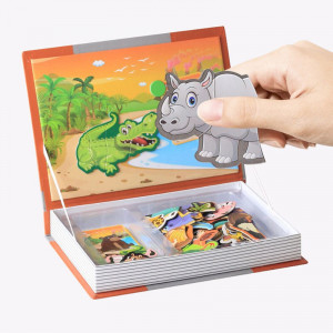 Joc educativ, carte puzzle cu piese magnetice Animal Spell